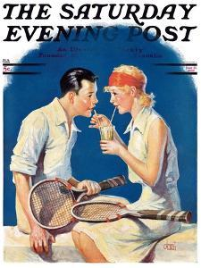 """""""Tennis Couple,"""" Saturday Evening Post Cover, June 21, 1930 by James C. McKell"""