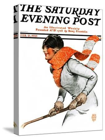 """Women's Ice Hockey,"" Saturday Evening Post Cover, February 21, 1925"
