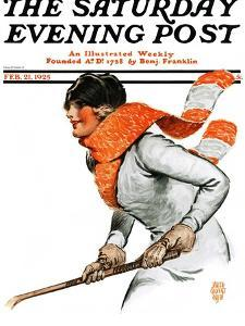 """Women's Ice Hockey,"" Saturday Evening Post Cover, February 21, 1925 by James Calvert Smith"