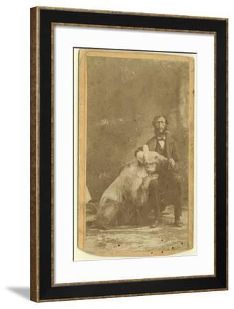 James Capen 'Grizzly' Adams (1807-60) Photographed with a Grizzly Bear--Framed Photographic Print
