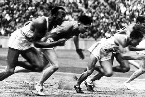 """James Cleveland """"Jesse"""" Owens, American Athlete at Departure of 100M Race at Olympic Games in 1936"""