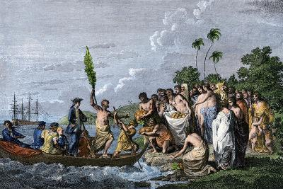 James Cook Landing in the Friendly Islands, Greeted by Tonga Natives Bearing Fruit, 1770s--Giclee Print