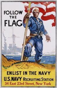 Follow the Flag Recruitment Poster by James Daugherty