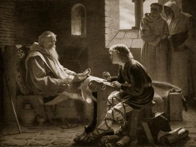 The Venerable Bede Translating the Gospel, Illustration from 'Hutchinson's Story of British Nation'