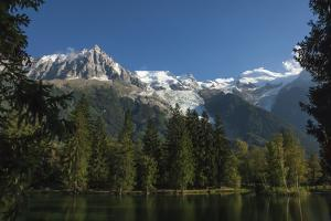 Aiguile du Midi and Mont Blanc, 4809m, and the Glaciers, from the Lake, Chamonix, Haute Savoie, Fre by James Emmerson