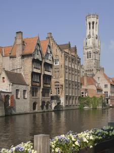 Canal of Traditional Flemish Gables and Belfry, Brugge, UNESCO World Heritage Site, Belgium by James Emmerson