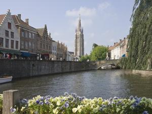 Canal View with the Spire of the Church of Our Lady, Brugge, Belgium, Europe by James Emmerson