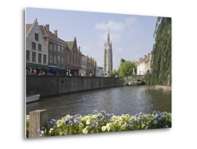 Canal View with the Spire of the Church of Our Lady, Brugge, Belgium, Europe