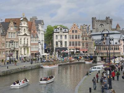 Everyday Scene Along Graslei Bank, Gravensteen Castle Beyond, in Centre of Ghent, Belgium