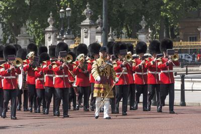Guards Military Band Marching Past Buckingham Palace En Route to the Trooping of the Colour