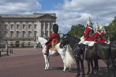 Guards Officer and Escort Awaiting Guards Detachments Outside Buckingham Palace