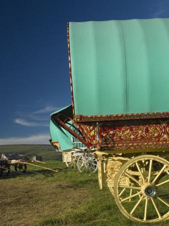 Horse Drawn Hooped Caravan, Appleby Annual Horse Fair, Eden Valley, Lake District, Cumbria, England