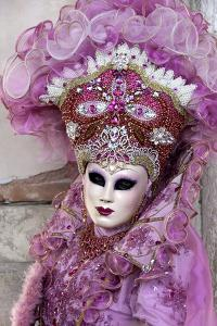 Lady in a Pink Dress and Bejewelled Hat, Venice Carnival, Venice, Veneto, Italy, Europe by James Emmerson