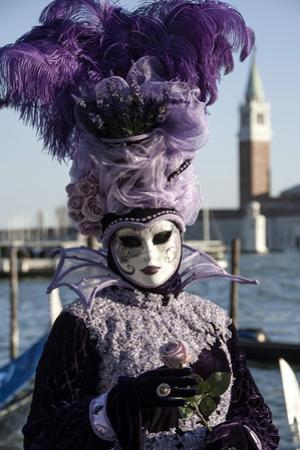 Lady in Black and Purple Mask and Feathered Hat, Venice Carnival, Venice, Veneto, Italy