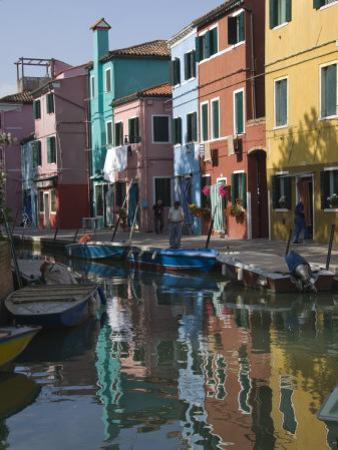 Pastel Coloured Houses Reflected in a Canal, Burano, Venetian Lagoon, Venice, Veneto