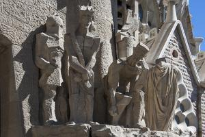Tableaux in Carved Stone Near the Entrance to Sagrada Familia, Barcelona, Catalunya, Spain, Europe by James Emmerson