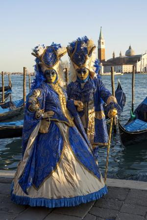 Two Ladies in Blue and Gold Masks, Venice Carnival, Venice, Veneto, Italy