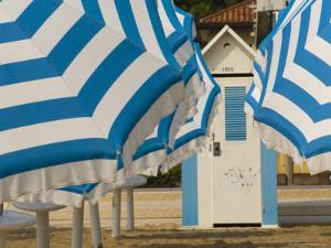 Umbrellas and Beach Hut, Jesolo, Venetian Lagoon, Veneto, Italy, Europe by James Emmerson