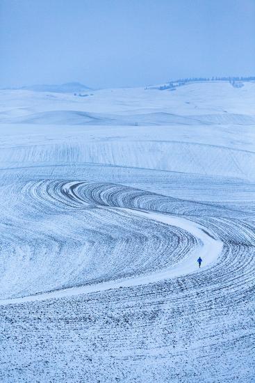 James Engerbretson Goes For A Cold Early-Winter Run On A Seasonally-Closed Farm Road, Moscow, Idaho-Ben Herndon-Photographic Print