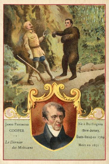 James Fenimore Cooper, American Novelist, and a Scene from Last of the Mohicans--Giclee Print