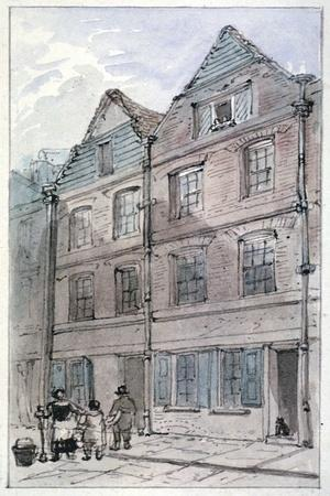 Houses in Blackhorse Alley, Fleet Street, City of London, 1850