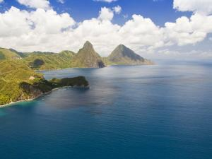 Aerial View of Gros Piton and Petite Piton, Icons of Saint Lucia by James Forte