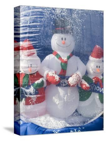 Inflatable Snowman Globe Family Close-Up, California