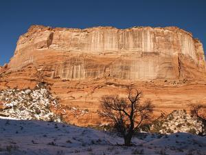 Large Plateau Rock Formation in a Snowy Canyon De Chelly Landscape by James Forte