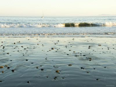 Pebbles in Wet Sand with Small Waves and Sail Boat in the Background, California