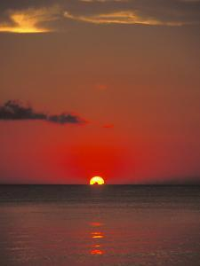 Red Orange Sunset on Horizon of Caribbean Sky by James Forte