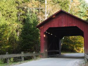 Stony Brook Red Covered Bridge and Hints of Fall Foilage, Vermont by James Forte
