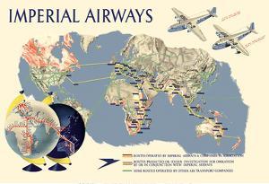 Imperial Airways - World Route Map by James Gardner
