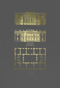 Gold Foil Building Plan II on Dark Grey by James Gibbs