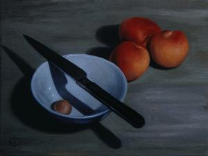 Bowl, Knife and Nectarines, 2009 by James Gillick