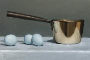 Brass Pan and Blue Eggs, 2011 by James Gillick