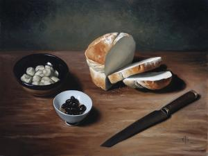 Bread, Olives, Artichoke Hearts and Knife, 2009 by James Gillick