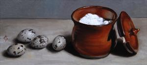 Clay Pot and Quail Eggs, 2008 by James Gillick