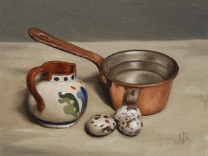 Jug, Copper Pan and Quail Eggs, 2009 by James Gillick