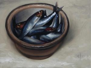 Stoneware Bowl, Full of Sprats, 2013 by James Gillick