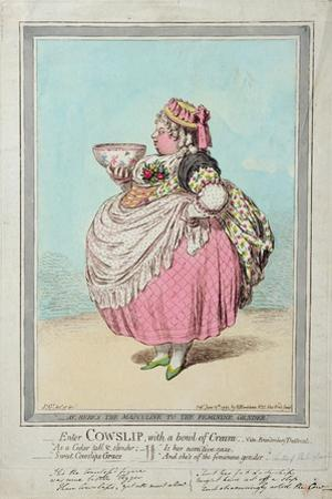 Enter Cowslip, with a Bowl of Cream, Published by Hannah Humphrey in 1795 by James Gillray