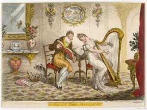 Harmony before Matrimony', Published 1805 (Coloured Engraving) by James Gillray