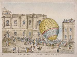 Hot Air Balloon in the Courtyard of Burlington House, Piccadilly, Westminster, London, 1814 by James Gillray