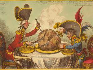 The Plumb-Pudding in Danger, or State Epicures Taking Un Petit Souper by James Gillray