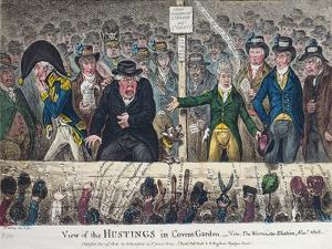 View of the Hustings in Covent Garden by James Gillray