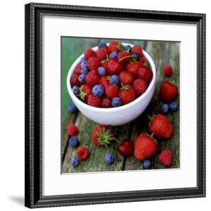 Summer Fruit, Blackberries, Strawberries, Raspberries, Blueberries and Cherries on Rustic Table by James Guilliam