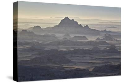 Badlands Layers on a Hazy Morning, Badlands National Park, South Dakota
