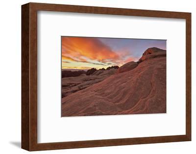 Brilliant Orange Clouds at Sunrise over Sandstone, Valley of Fire State Park, Nevada