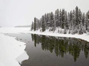 Malign River and Malign Lake in Winter, Jasper National Park, Alberta, Canada by James Hager