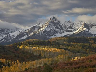 Mears Peak with Snow and Yellow Aspens in the Fall