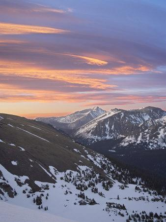 Orange Clouds at Dawn Above Longs Peak, Rocky Mountain National Park, Colorado